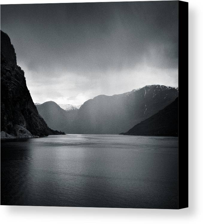 Norway Canvas Print featuring the photograph Fjord Rain by Dave Bowman