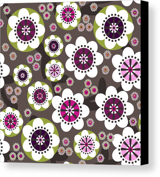 Posters Canvas Print featuring the digital art Floral Grunge by Lisa Noneman