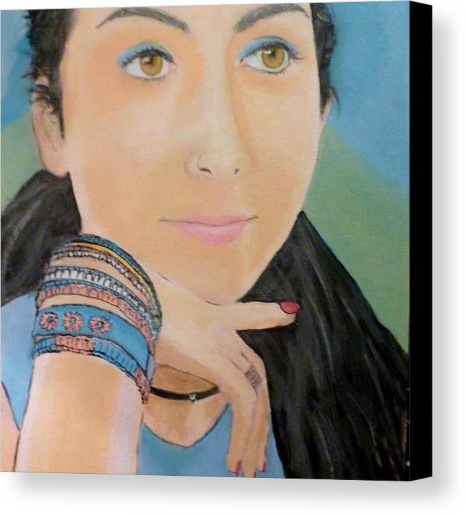 Portrait Canvas Print featuring the painting Foreign Exchange Student by Maggie Cabral