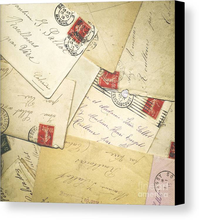 France Canvas Print featuring the photograph French Correspondence From Ww1 #1 by Jan Bickerton