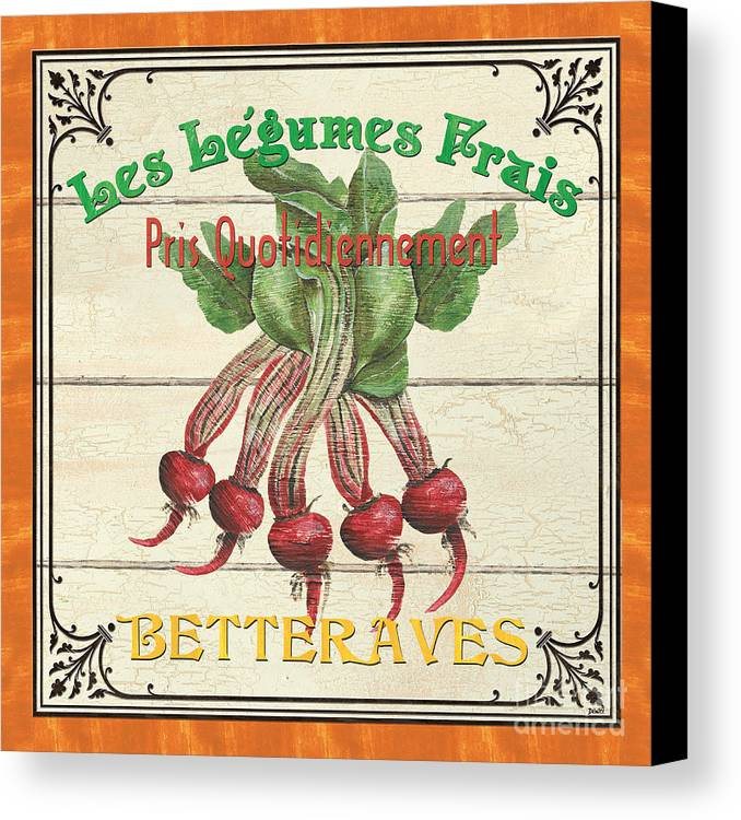 Beets Canvas Print featuring the painting French Vegetable Sign 4 by Debbie DeWitt