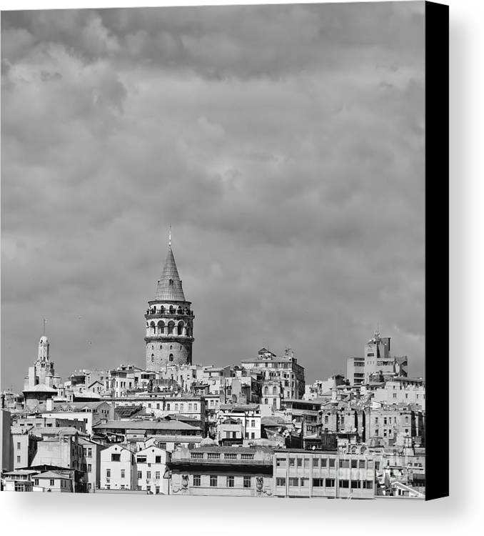 Galata Canvas Print featuring the photograph Galata Tower Mono by Antony McAulay