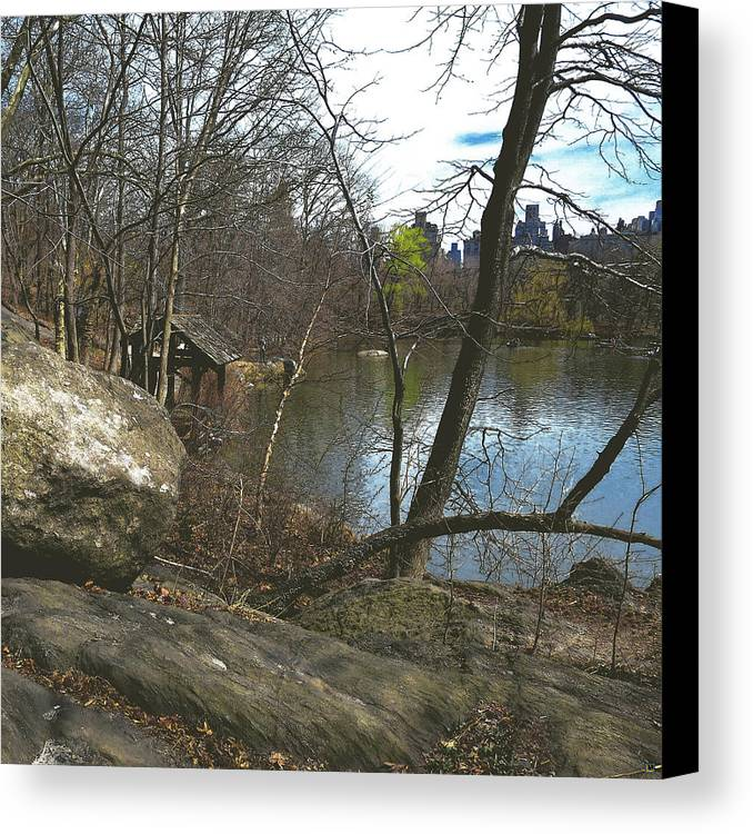 Central Park Canvas Print featuring the photograph Getting Lost In Central Park by Muriel Levison Goodwin