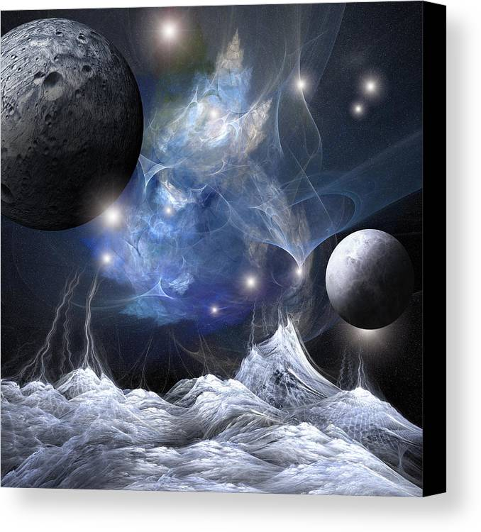 Space Canvas Print featuring the digital art Gorgeous Spacescape From One Planet by Bijan Studio
