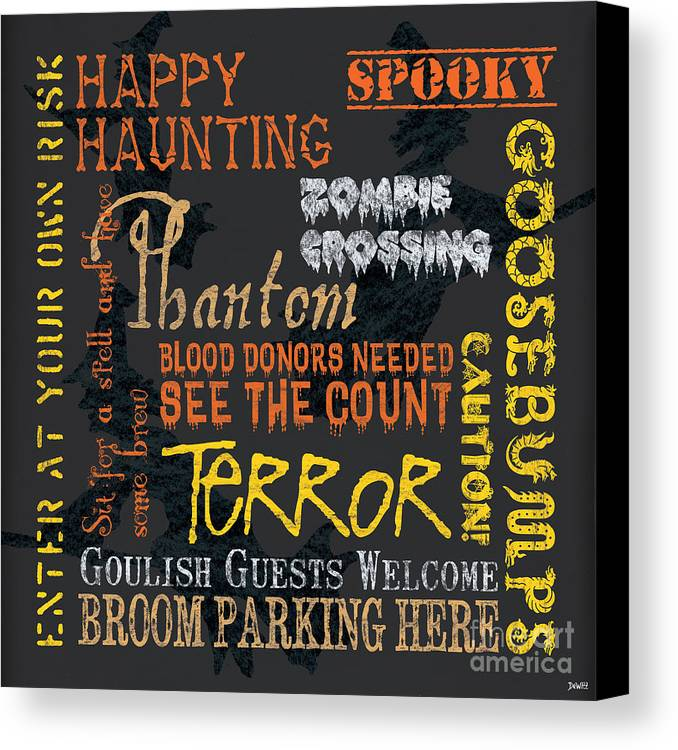 Halloween Canvas Print featuring the painting Happy Haunting by Debbie DeWitt