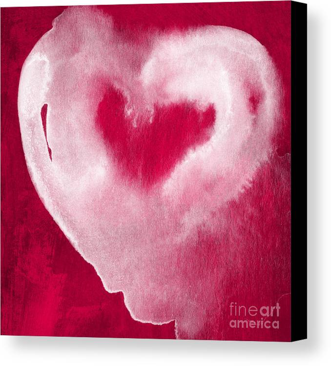Valentine Canvas Print featuring the mixed media Hot Pink Heart by Linda Woods