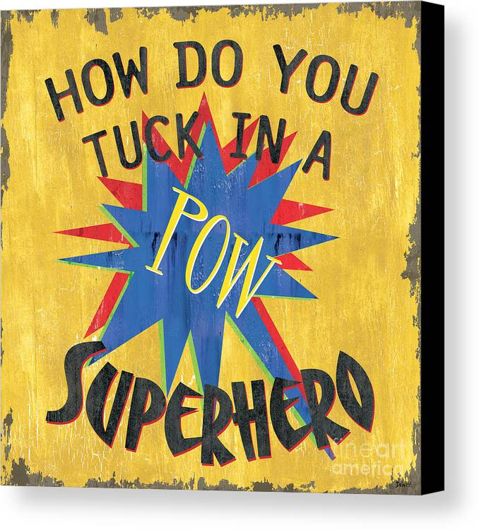 Kids Canvas Print featuring the painting How Do You Tuck... by Debbie DeWitt