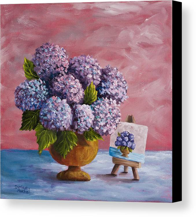Hydrangea Canvas Print featuring the painting Hydrangeas From My Garden by Darice Machel McGuire