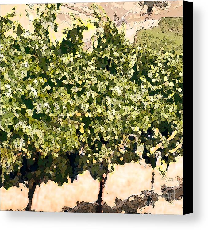 Cour De Valle Vineyard Canvas Print featuring the painting In The Vineyard by Artist and Photographer Laura Wrede