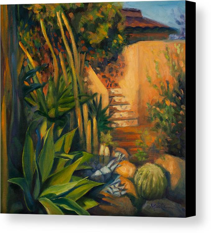 Garden Canvas Print featuring the painting Jardin De Cactus by Athena Mantle