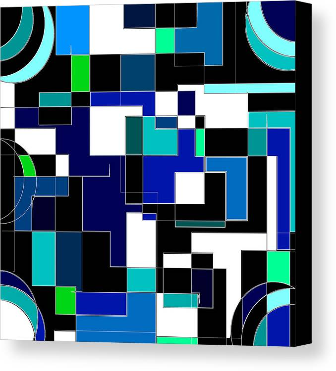 Blue Canvas Print featuring the digital art Just Colors And Lines Blue by Mary Bedy