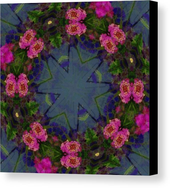 Kaleidoscope Canvas Print featuring the photograph Kaleidoscope Lantana Wreath by Cathy Lindsey