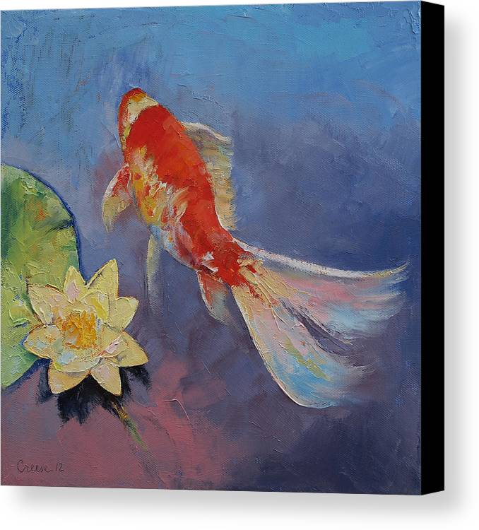Koi on blue and mauve canvas print canvas art by michael for Koi canvas print