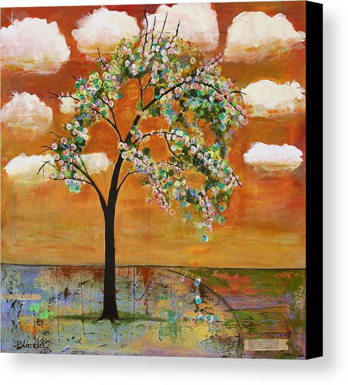 Landscapes Art Canvas Print featuring the painting Landscape Art Scenic Tree Tangerine Sky by Blenda Studio