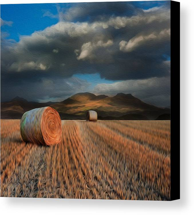 Landscape Canvas Print featuring the photograph Landscape Of Hay Bales In Front Of Mountains Digital Painting by Matthew Gibson