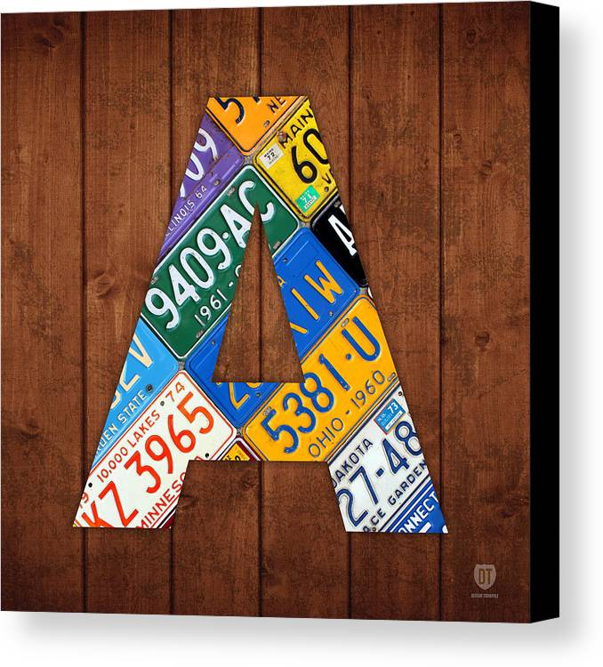 Letter Canvas Print featuring the mixed media Letter A Alphabet Vintage License Plate Art by Design Turnpike