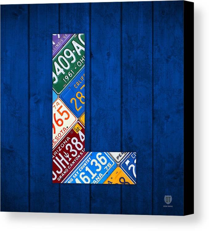 letter l alphabet vintage license plate art canvas print canvas