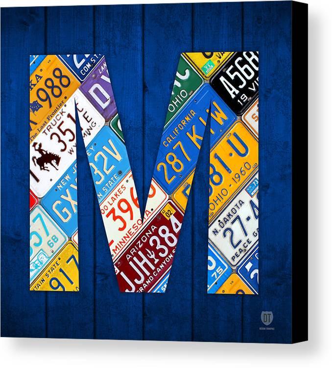 letter m alphabet vintage license plate art canvas print canvas