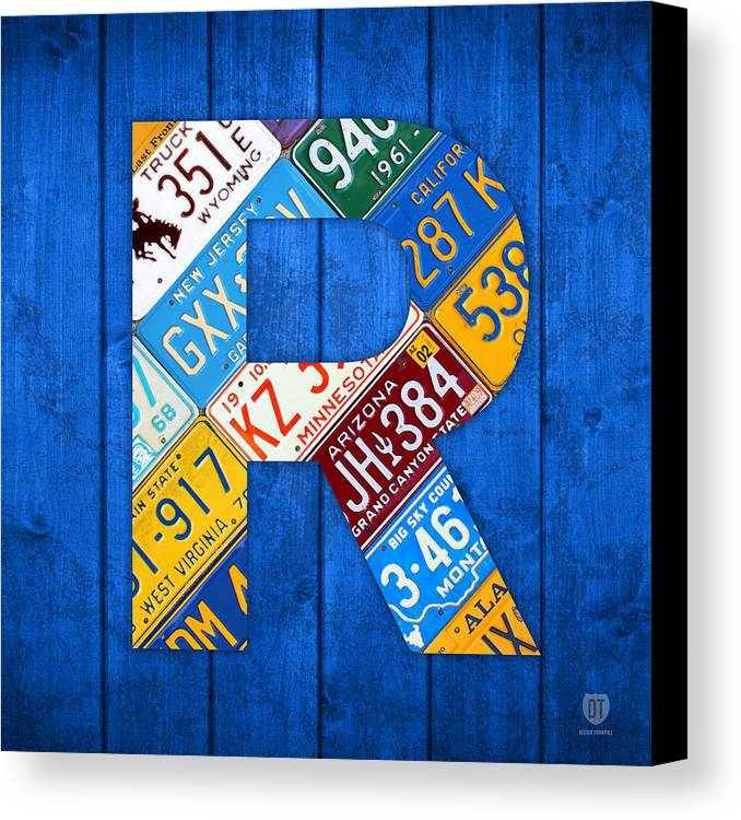 Letter Canvas Print featuring the mixed media Letter R Alphabet Vintage License Plate Art by Design Turnpike