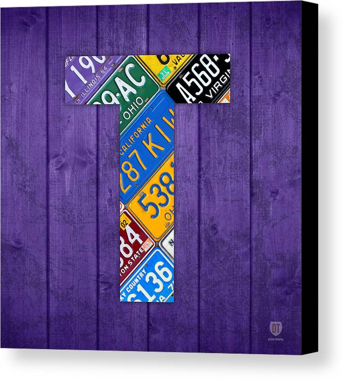 Letter Canvas Print featuring the mixed media Letter T Alphabet Vintage License Plate Art by Design Turnpike