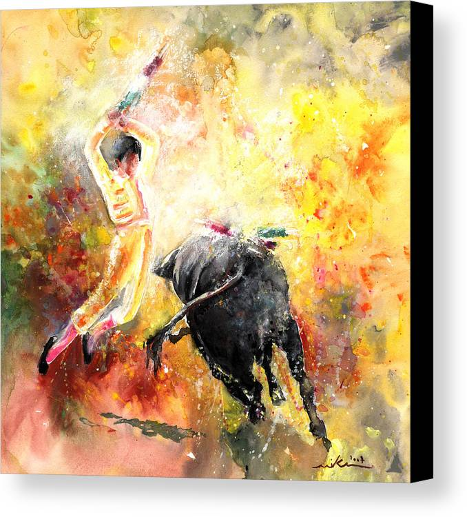 Animals Canvas Print featuring the painting Lightning Strikes by Miki De Goodaboom
