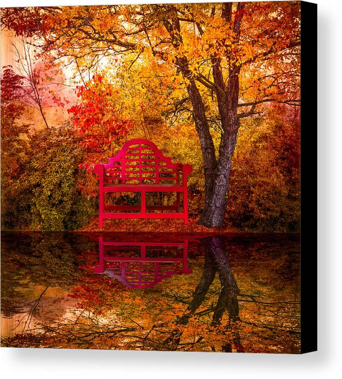 American Canvas Print featuring the photograph Meet Me At The Pond by Debra and Dave Vanderlaan