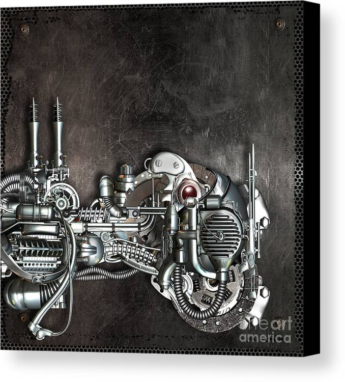 Mechanism Canvas Print featuring the mixed media Danger From Above by Diuno Ashlee