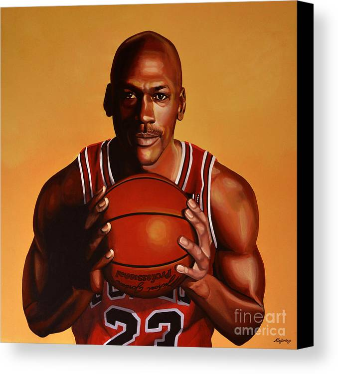 Michael Jordan Canvas Print featuring the painting Michael Jordan 2 by Paul Meijering