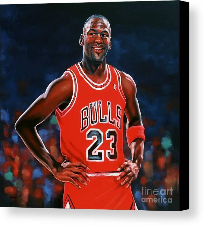 Michael Jordan Canvas Print featuring the painting Michael Jordan by Paul Meijering