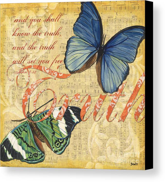 Butterfly Canvas Print featuring the painting Musical Butterflies 3 by Debbie DeWitt