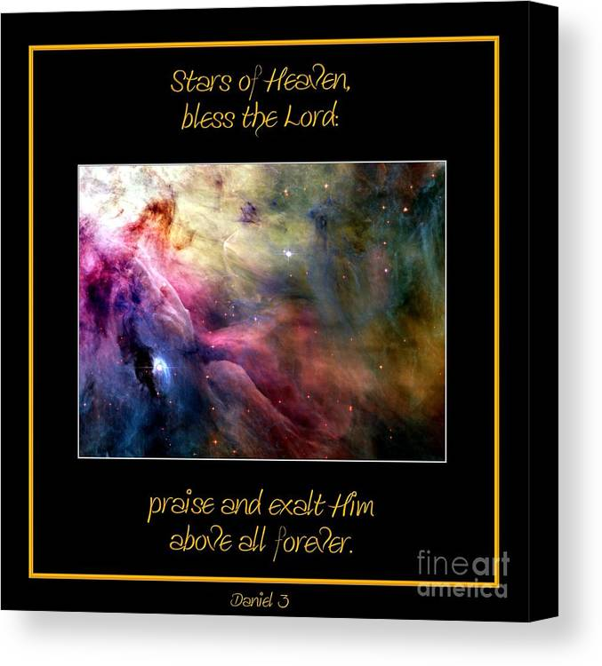 Nasa Canvas Print featuring the photograph Nasa Ll Ori And The Orion Nebula Stars Of Heaven Bless The Lord by Rose Santuci-Sofranko