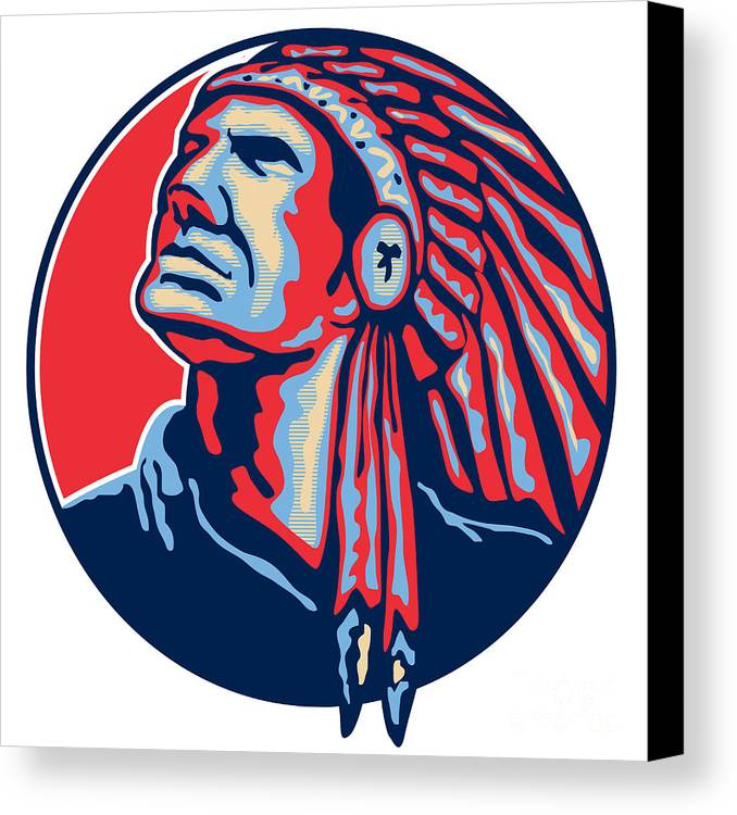 Native American Canvas Print featuring the digital art Native American Indian Chief Retro by Aloysius Patrimonio