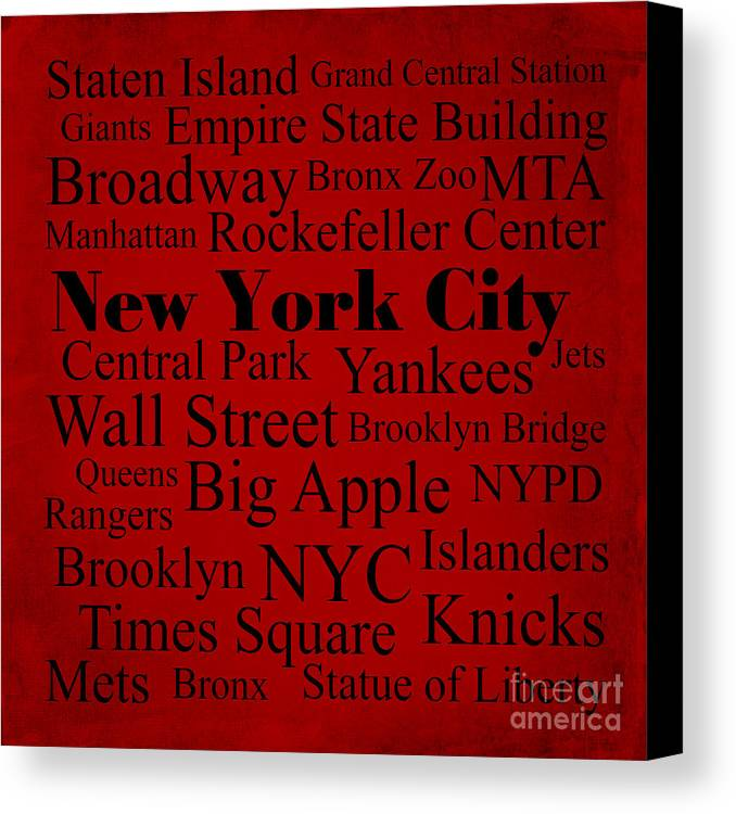 Denyse And Laura Design Studio Canvas Print featuring the photograph New York City by Denyse and Laura Design Studio