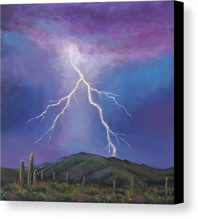 Lightning Canvas Print featuring the painting Night Strike by Johnathan Harris