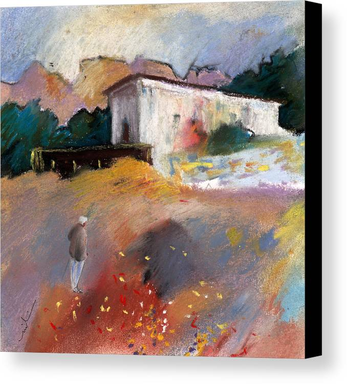Travel Canvas Print featuring the painting Old House In Altea La Vieja 01 by Miki De Goodaboom