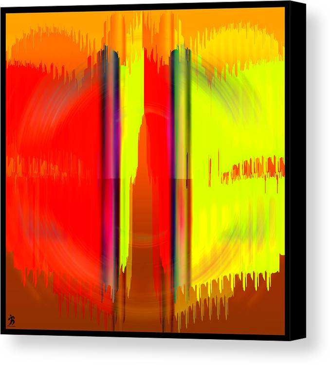Pacan Canvas Print featuring the digital art Pacan - Yellow And Red by Daniels Aesthetics