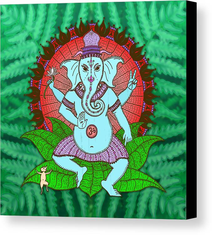 Mandala Canvas Print featuring the digital art Peace Ganesh Dancing by Peter Barreda