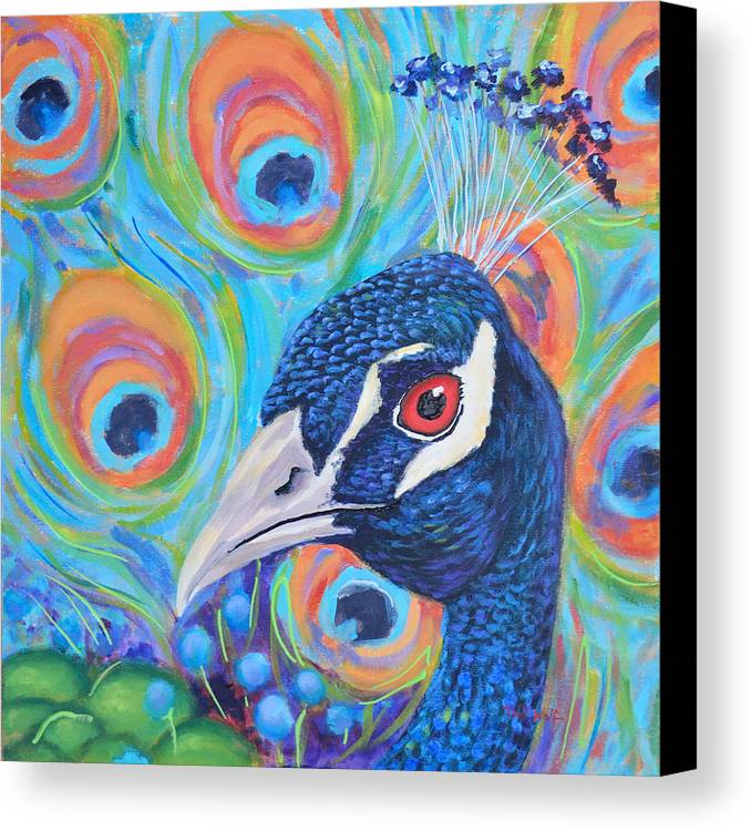 Toni Wolf Canvas Print featuring the painting Peacock Pride by Toni Wolf