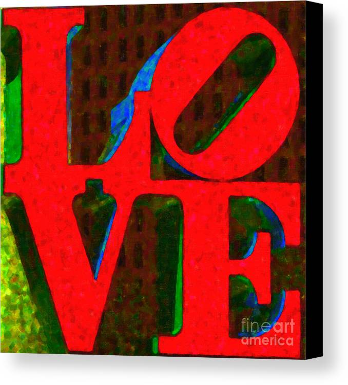 Love Canvas Print featuring the photograph Philadelphia Love - Painterly V1 by Wingsdomain Art and Photography