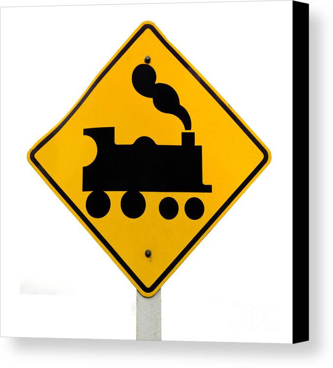 Attention Canvas Print featuring the photograph Railroad Crossing Steam Engine Roadsign On White by Stephan Pietzko