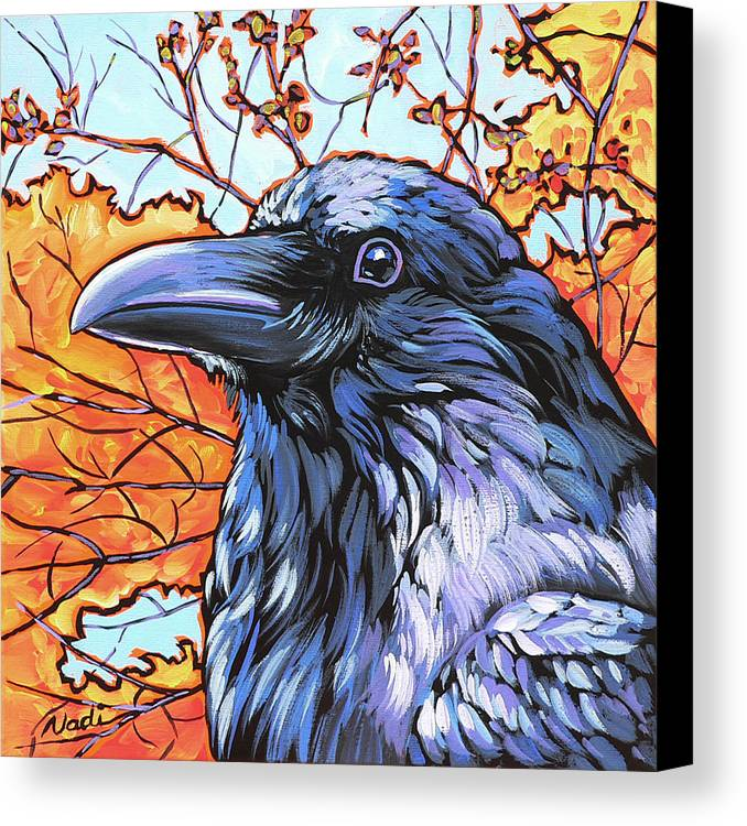 Raven Canvas Print featuring the painting Raven Head by Nadi Spencer