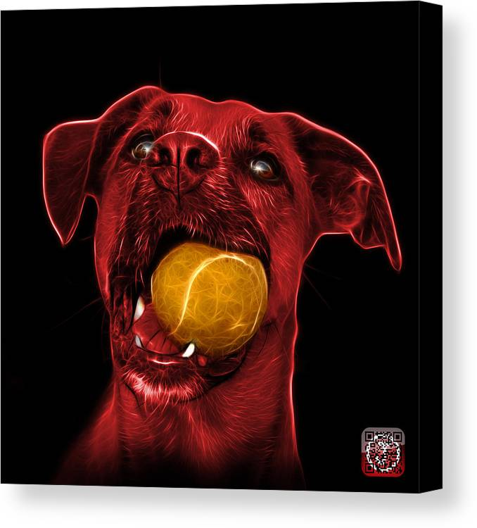 Dog Canvas Print featuring the digital art Red Boxer Mix Dog Art - 8173 - Bb by James Ahn