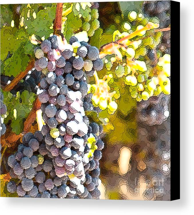 Grapes Canvas Print featuring the painting Ripe Grapes by Artist and Photographer Laura Wrede