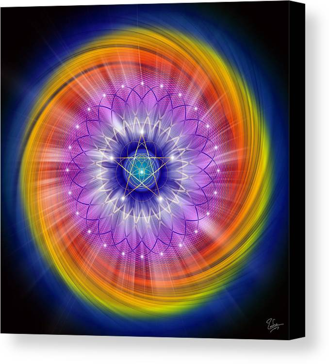 Endre Canvas Print featuring the digital art Sacred Geometry 244 by Endre Balogh