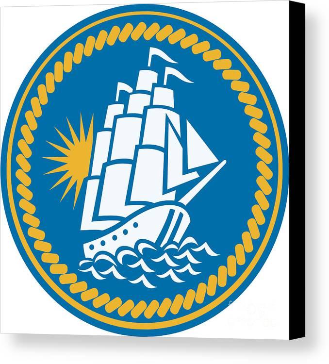 Sailing Canvas Print featuring the digital art Sailing Tall Ship Galleon Retro by Aloysius Patrimonio