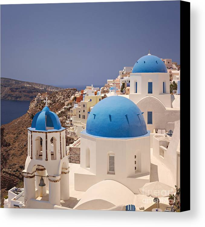 Village Canvas Print featuring the photograph Santorini Blue Domes by Sophie McAulay