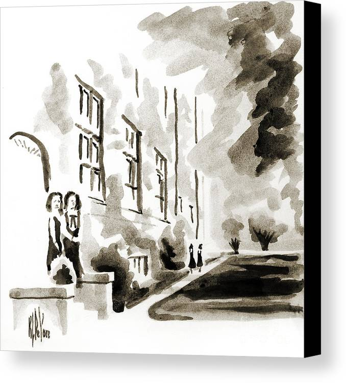 School Days At Ursuline Ii Canvas Print featuring the painting School Days At Ursuline II by Kip DeVore