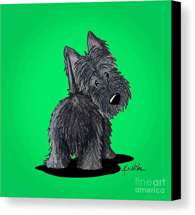 Scottish Terrier Canvas Print featuring the drawing Scottish Moon by Kim Niles