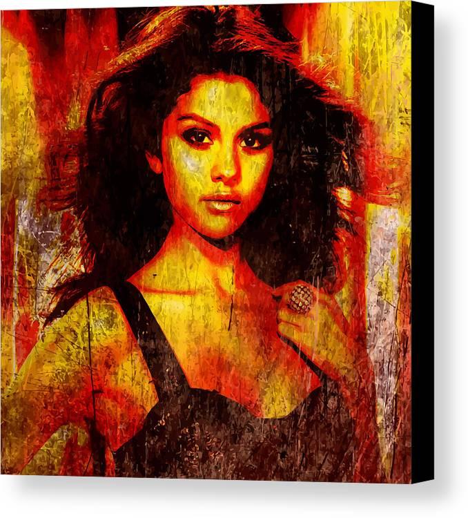 Selena Gomez Canvas Print featuring the digital art Selena Gomez 3 by John Novis
