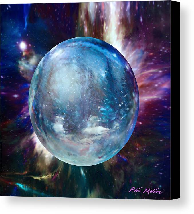 Snowglobe Canvas Print featuring the painting Snowglobular by Robin Moline